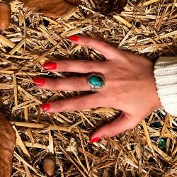 chevalière argent, turquoise