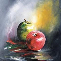 Pommes, peinture acrylique...