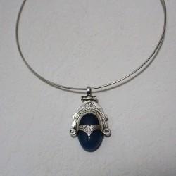 Médaillon agate bleue...